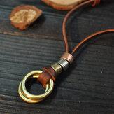Старинные Геометрические Металлические Кольца Кулон Ожерелье Из Коровьей Кожи Ручной Работы Ожерелье Веревка Ювелирные Изделия