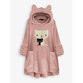 Cat Embroidery Hooded Sweatshirt