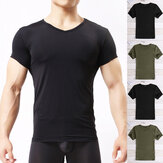 Men's V Neck Gym Sport Muscle Slim Fit Tee Casual Short Sleeve Tops T-shirt 2019