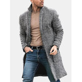 Mens Plaid Schwarz Weiß Big Pockets Turn Down Kragen Mäntel