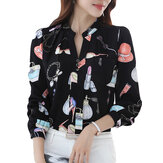 Cartoon Printed Stand Collar Shirts
