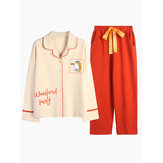 Sweet Long Sleeve Cotton Pajamas Button-Down 2-Piece Pajama Set