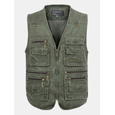 Mens Outdooors pêche couleur unie Multi Pocket Photojournalist coton gilet gilet grande taille M-5XL