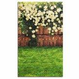 3x5FT vinyl hout hek geel roze bloem gazon fotografie Studio Props achtergrond achtergrond