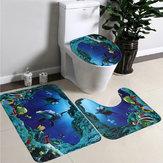 3 قطعة / المجموعة Soft الفانيلا الأزرق البحر كونتور الركيزة البساط غطاء المرحاض غطاء حمام حصيرة السجاد
