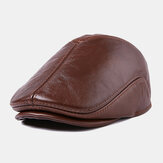 First Layer Cowhide Leather Hat Men's Fashion Beret Hats
