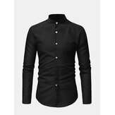 Mens Casual Business Stand Collar Slim Shirt