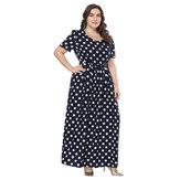 Polka Dot Print Short Sleeve Crew Neck Maxi Dress with Belt