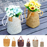 Foldable Natural Woven Seagrass Belly Storage Basket Flower Pot Folding Basket Weaving Dirty Garment Basket Fruit Basket