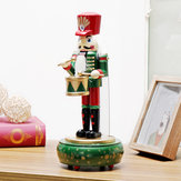 Fshion Handmade Wooden Music Box Nutcracker Drummer Music Box Decor Toy Gift