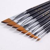 BGLN 802 9 Pcs/set Nylon Hair Acrylic Oil Painting Brush Oblique Paint Brushes Watercolor Brush Pens School Art Painting Supplies