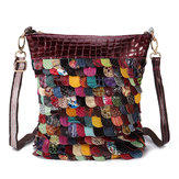 Women Bohemian Floral Genuine Leather Handbag