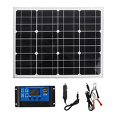 18V 40W Monocrystalline Silicon Aluminum Frame Solar Panel+Solar Controller+Cables Kit
