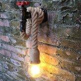 Vintage Industrial Water Pipe Wall Lámpara Lámpara de cáñamo Cuerda Colgante Luminaria