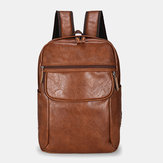 Men Large Capacity Faux Leather Backpack
