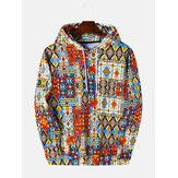 Mixed Color Ethnic Pattern Print Langarm-Kapuzenshirt Vintage