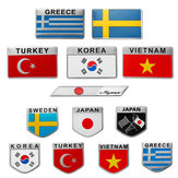 3D Aluminum Alloy Car Auto Body Sticker Decals Turkey/Sweden/Greece/Korea/Vietnam/Japan Flag