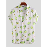 Mens Avocado Trykt Sommer Hawaiian Style Casual Vacation Fashion Shirts
