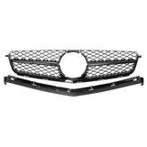 Front Grille Gloss Black / Sliver Dla Mercedes Benz C-C C63 AMG W204 Sedan 2008-2011