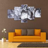 5 piezas blanco y negro ton lobo lienzo impresión pared arte pinturas animales decoración del hogar