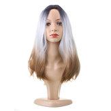 """włosy 26 """"270g Długa syntetyczna peruka do włosów z regulacją Ombre Grey"""