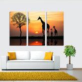 Miico dipinto a mano tre combinazioni di dipinti decorativi Giraffa nel tramonto Wall Art For Home Decoration