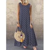 Women Bohemian Sleeveless O-neck Polka Dot Print Maxi Dress