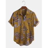 Повседневные рубашки с коротким рукавом с цветочным принтом из хлопка павлина