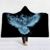 3D Digital Print Owl Hooded Blankets Cloak Magic Hat Thick Double-layered Plush