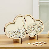 Wood Double-Heart Wedding Guest Book Signature Sign Book Wooden Pendant Decorations