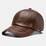 قبعة بيسبول من الجلد الصناعي للرجال مع تطريز إلكتروني