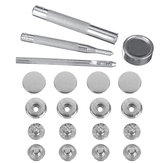8pcs 15mm / 12.5mm Duty Snap Fasteners Popper Press Stud Button Com Kit de fixação