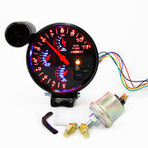 5 polegadas 4 em 1 tacômetro RPM Meter Shift Light Pressure Water Temp Gauge