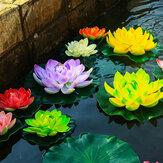 18 cm flutuante de lótus artificial para aquário tanque de peixes lagoa lírio de água flor de lótus decorações para casa