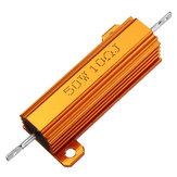 3pcs RX24 50W 10R 10RJ Metal Aluminum Case High Power Resistor Golden Metal Shell Case Heatsink Resistance Resistor