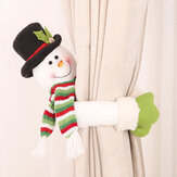 Decorazioni natalizie Loskii Piccola fibbia creativa per tende Cartoon Old Man Snowman Elk Curtain Decorations
