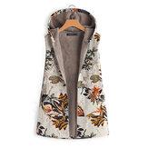 Kadın Kolsuz Fermuar Çiçek Baskı Palto