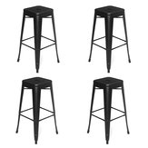 4x Vintage Bar Stools Metal Industrial High Folding Chair Breakfast Bars Office Kitchen Barstools