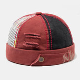 Mens's Cotton Color Matching Plaid Brimless Hats Skull Caps
