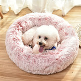 Pet Dog Cat Calming Bed Round Nest Warm Soft Plush Sleeping Bed Donut Cushion
