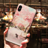 Bakeey 3D Flower and Cat Landscape Painted Embossed TPU Soft Protective Case Cover for iPhone X 6/6s iP 7/8