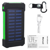 5000Mah Portable Solar Power Bank Dual USB Cargador eficiente con LED Lámpara Brújula Escalada Gancho