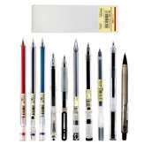 COLNK 10 Pcs/Box Mixed Gel Pens Mechanical Pencils 0.5mm Refills for Office School Stationary Black Red Ink with Pen Box