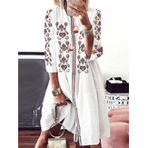 Ženy Bohemia Flower Print Vintage Casual Dress