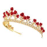 Rose Crystal Rhinestone Bridal Tiara Wedding Jewelry Princess Crown Prom Hair Tiara