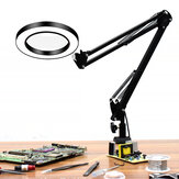 DANIU Flexible Desk Large 33cm+33cm 5X USB LED Magnifying Glass 3 Colors Illuminated Magnifier Lamp Loupe