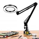 DANIUフレキシブルデスクラージ33cm + 33cm 5X USB LED拡大鏡3色照明付き拡大鏡ランプルーペ