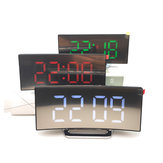 USB Rechargeable Mirror LED Alarm Clock Night Lights Thermometer Digital Clock