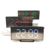 USB Rechargeable Mirror LED Jam Alarm Lampu Malam Thermometer Digital Clock