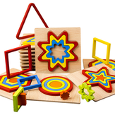 Creative 3D Houten puzzel Geometrische vorm Puzzel Speelgoed Intelligentie Ontwikkel vroeg educatief speelgoed voor kinderen
